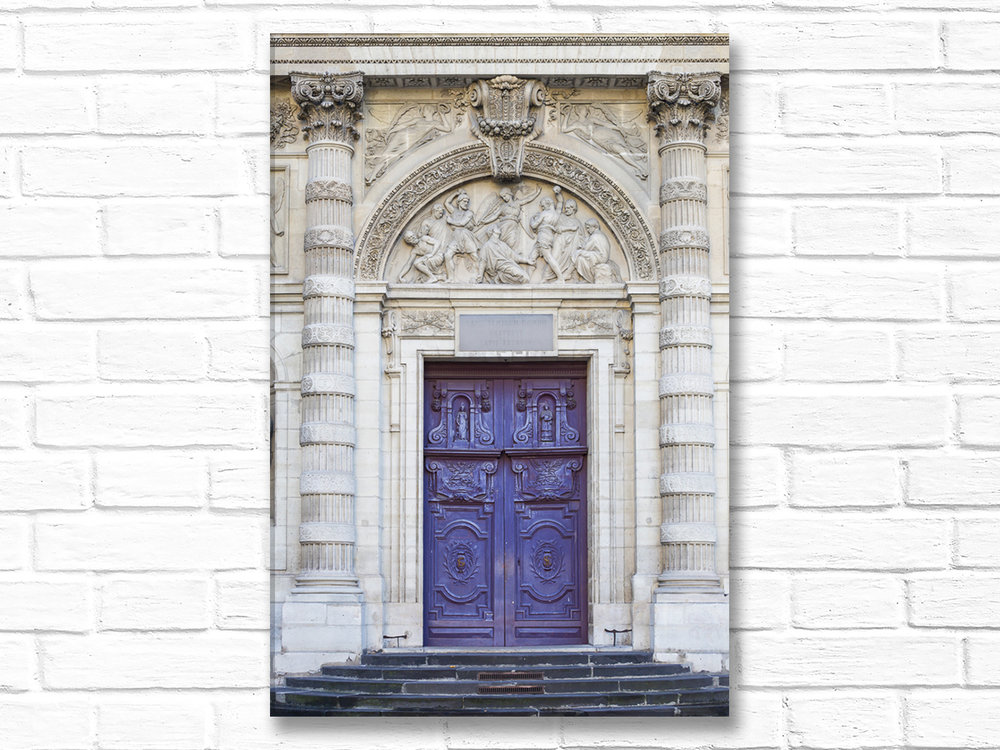 Paris France Home Decor Canvas Wall Art, Violet Church Door