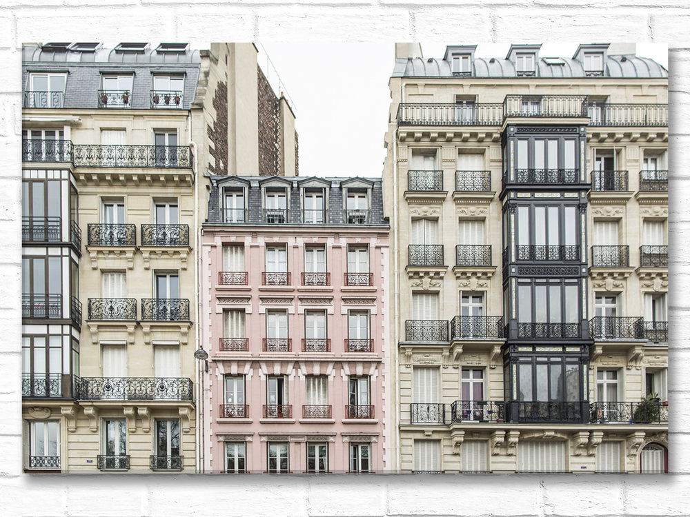 Paris France Home Decor Canvas Wall Art, The Pink Apartments