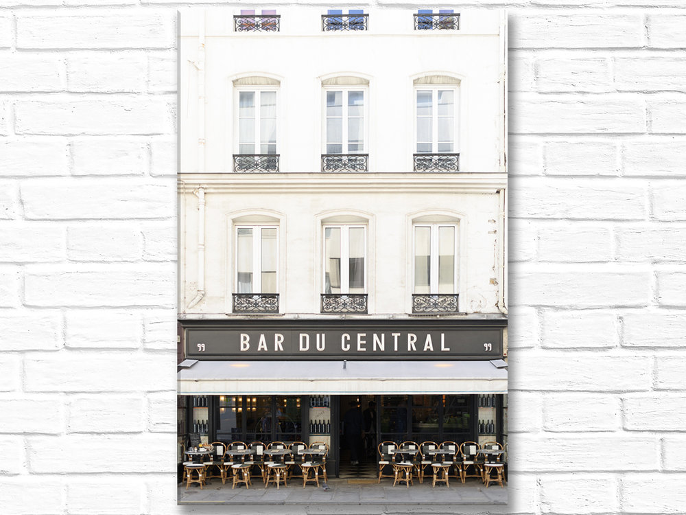 Paris France Home Decor Canvas Wall Art, Bar du Central
