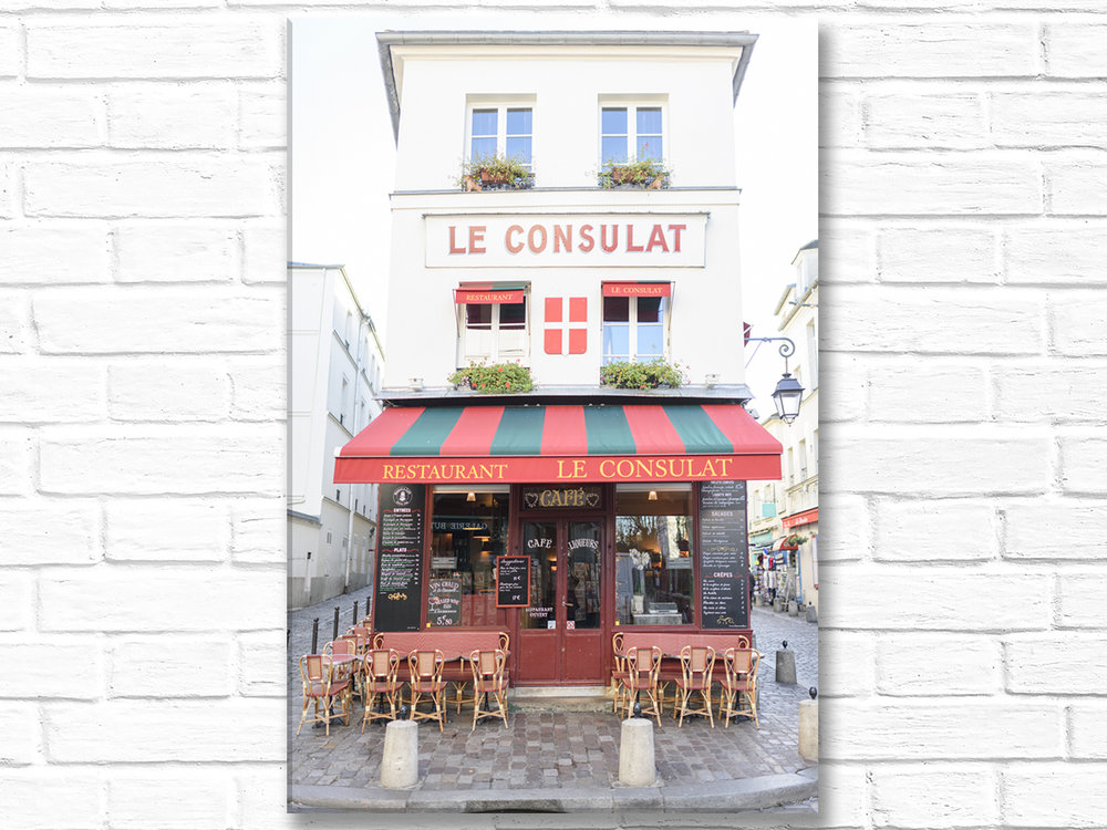 Paris France Home Decor Canvas Wall Art, Le Consulat Cafe