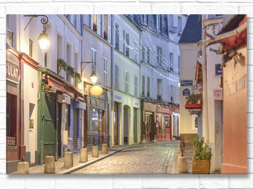 Paris France Home Decor Canvas Wall Art, Rue Norvins at Night