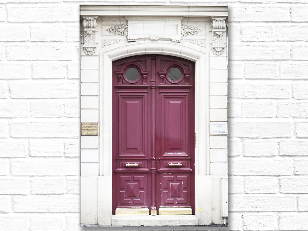 Paris France Home Decor Canvas Wall Art, Wine-Colored Door