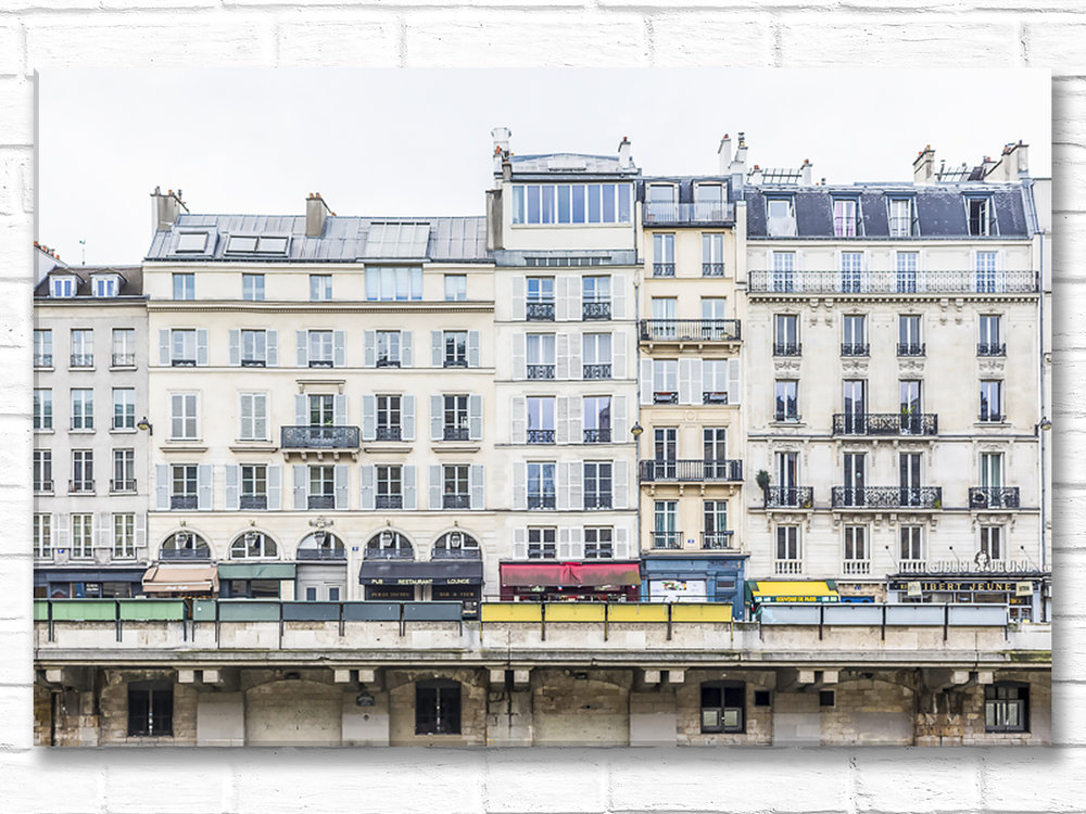 Paris France Home Decor Canvas Wall Art, Across the Seine from Ile de la Cite