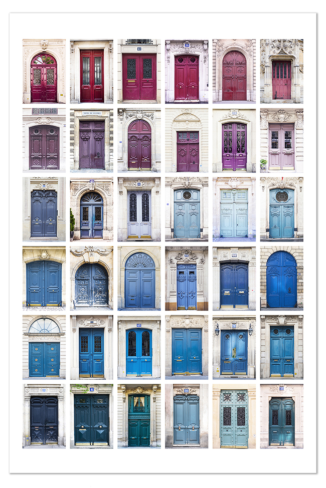 FREE 8 x 12 Portes de Paris print with your first order of $30 or more - We are very pleased to offer you a free 8 x 12 Portes de Paris print ($30 value) when you place your first order for $30 or more for any print(s) or canvas(es)  in our shop (sorry–does not apply to calendars, stationery items or books). We've spent years exploring the arrondissements of the city, collecting hundreds of images which we've narrowed down for this special print. Each of these 36 doors has a story, and a happy moment connected with its discovery, and each was photographed with a high resolution camera so that the exquisite details can be seen and appreciated. No two doors are alike in this collection, which ranges in color from deep red to lavender and pink to teal and blue.This is a smaller version of the 100-door print listed in the Paris Doors section of the shop which is also available on canvas. All you need do to receive your free print is place your first order of $30 or more for any print(s) or canvas(es), and we will automatically include the free 8 x 12 print when we ship.