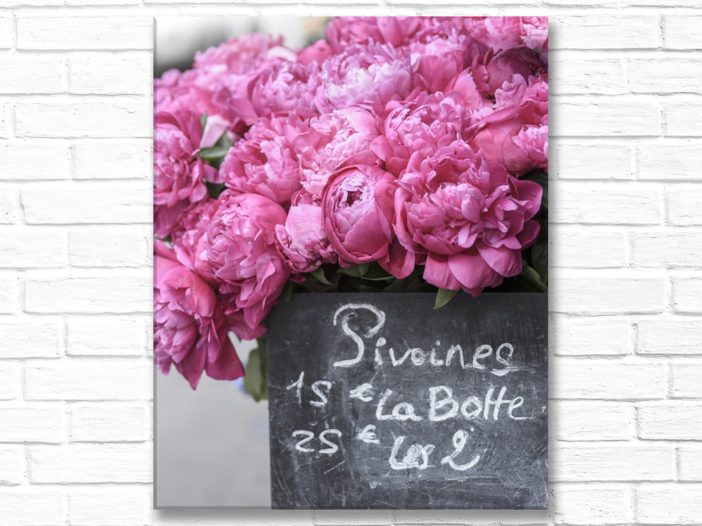 Paris France Home Decor Canvas Wall Art,  Pink Peonies in Paris Market