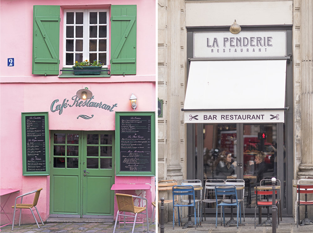 The Maison Rose in Montmartre on the left and La Penderie in the 2nd near Les Halles on the right. Above is the Bistro Saint-Dominique on the street of the same name in the 7th.