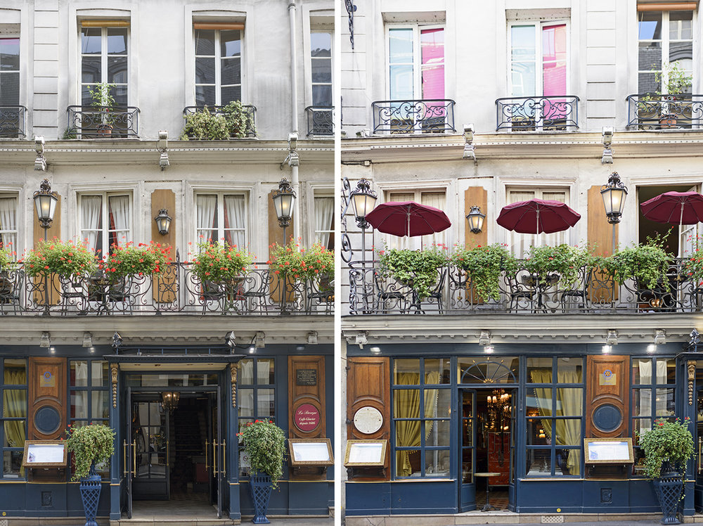 Two views of Le Procope in Saint-Germain, the oldest Paris café still in operation today..
