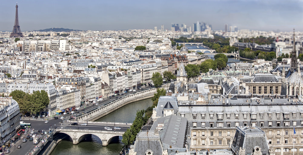 """An """"aerial"""" view of Paris, the Seine and some of the beautiful bridges that span it."""