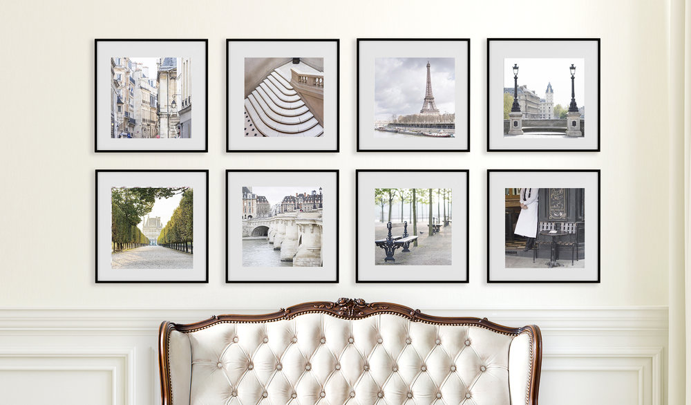 An elegant living room calls for an elegant gallery wall.