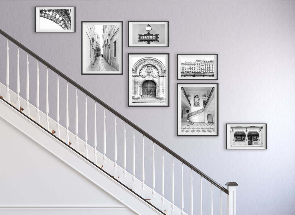 A staircase is a great candidate for a gallery wall to fill that empty space with something meaningful and beautiful.