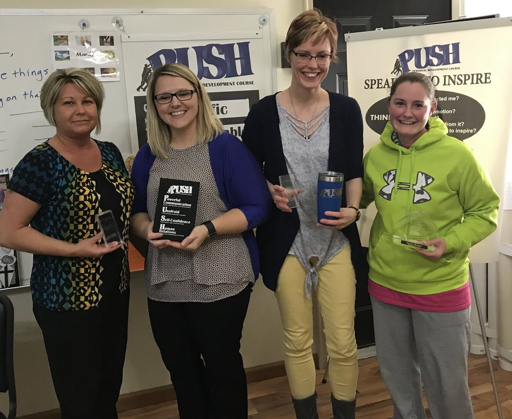 Award recipients at Session 12 of the Mitchell, SD  PUSH class, 3/26/18  Krintina Baysinger, Mandy Stevens, Randi Pietz, and Jessica Skinner