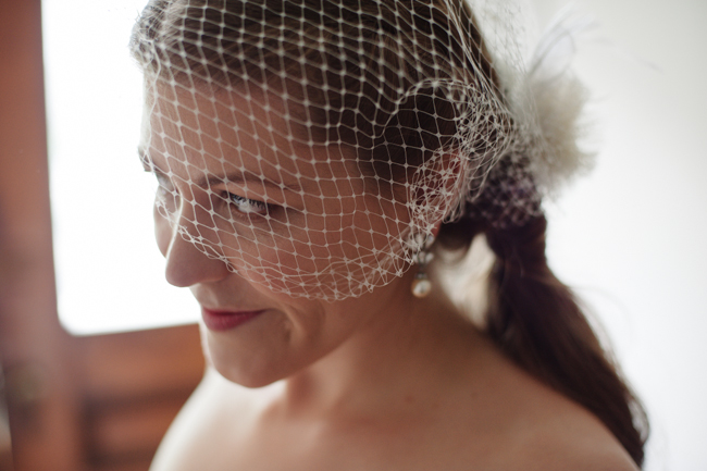 happy bride in veil
