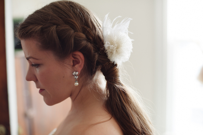 bride's pretty hair in Hudson, NY