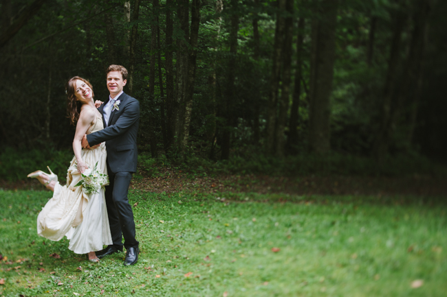 bride and groom in Cataloochee, NC