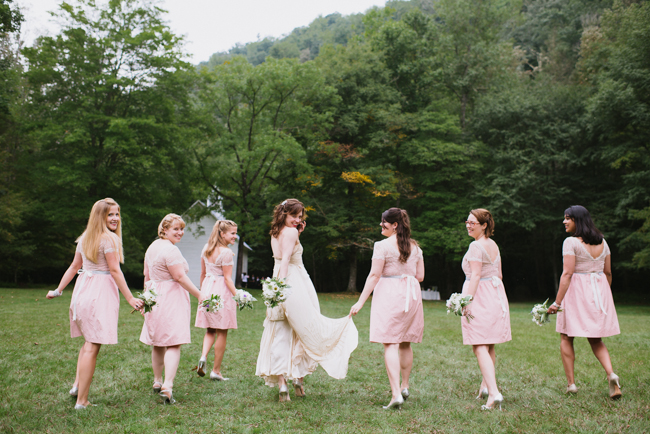 bridal party heading to Palmer Chapel