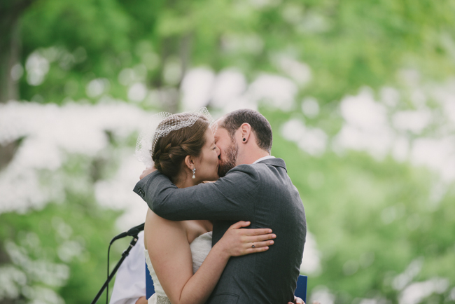 first kiss at Oak Hill wedding