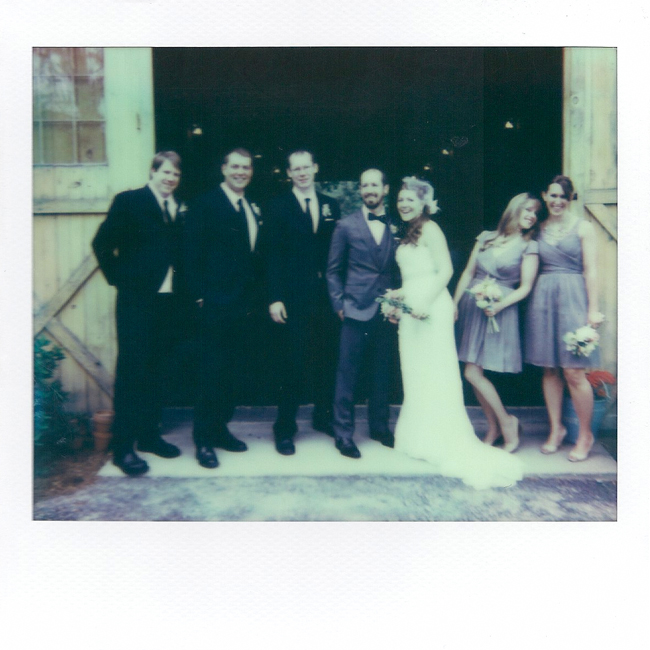 Polaroid of wedding party at Oak Hill