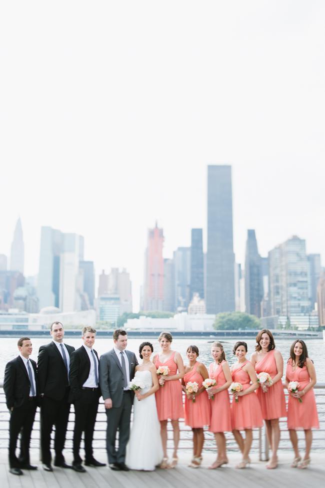 wedding party Manhattan skyline