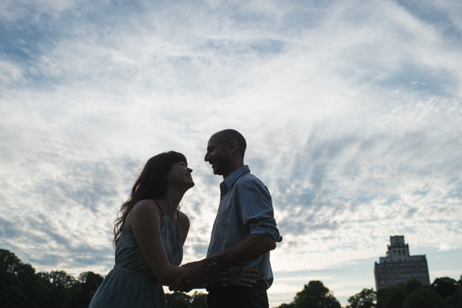 Prospect Park engagement session silhouette