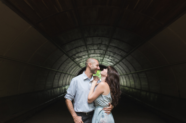 Prospect Park engagement session in tunnel
