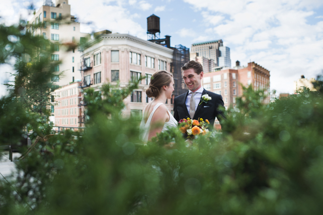 nyc skyline wedding portrait