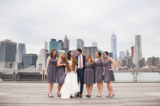 nyc skyline wedding party
