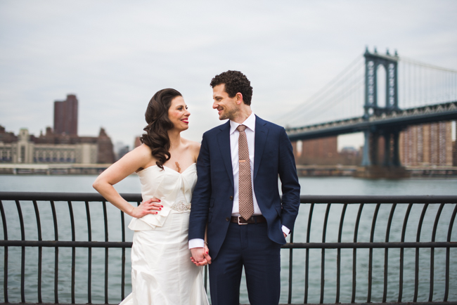 manhattan bridge wedding portrait