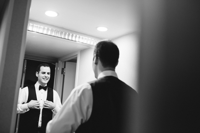 groom getting ready, b&w