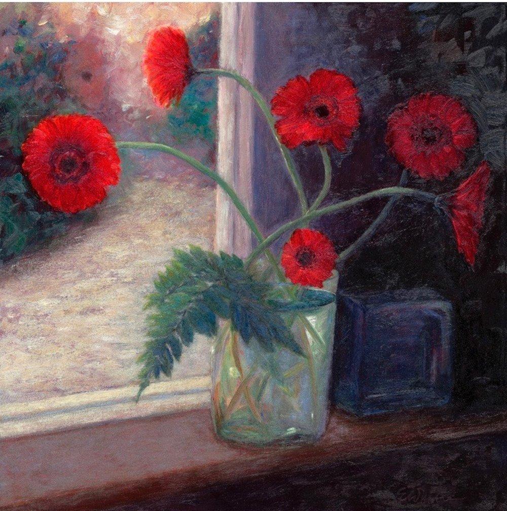 Red Gerberas in Winter