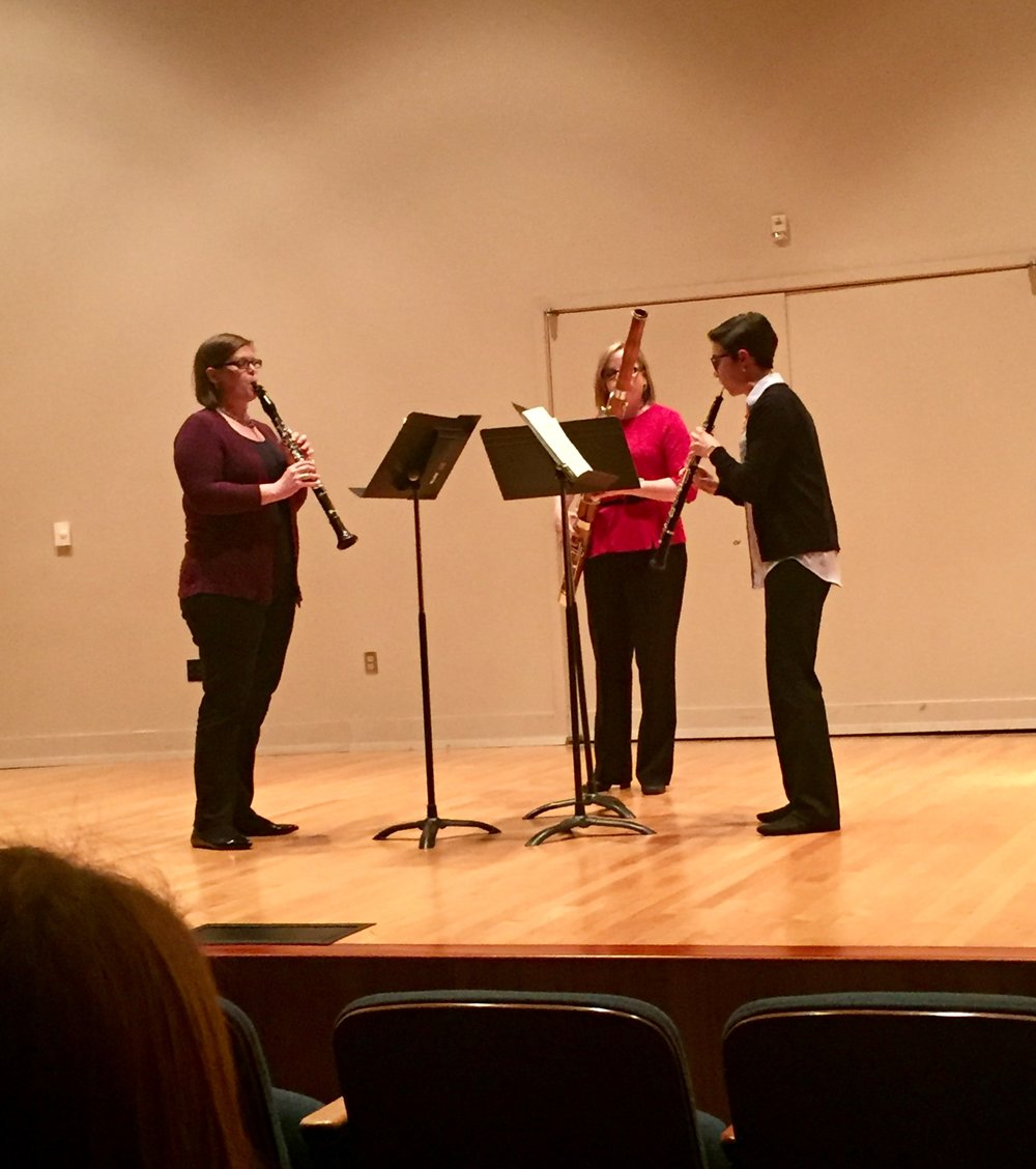 Magnolia Reed Trio, the faculty reed trio from Southern Miss, performs at Northwestern State University in Natchitoches, LA, 2017
