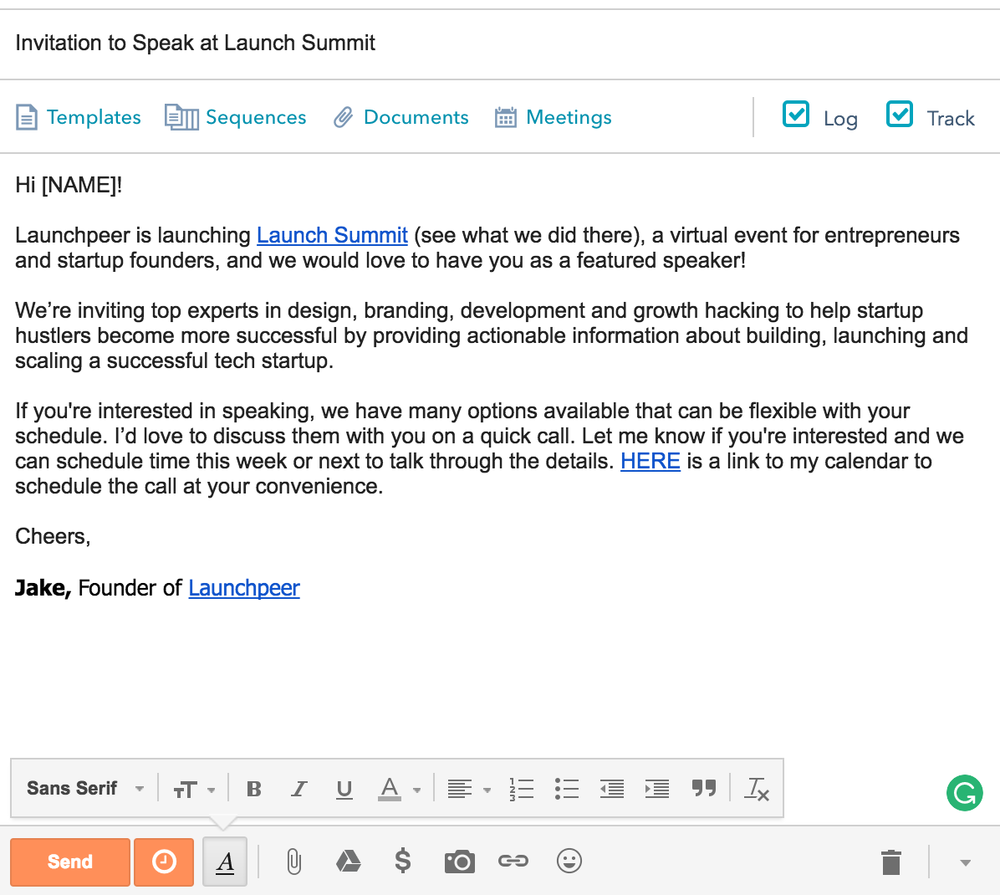 The email 3 hours in the making for  Launch Summit