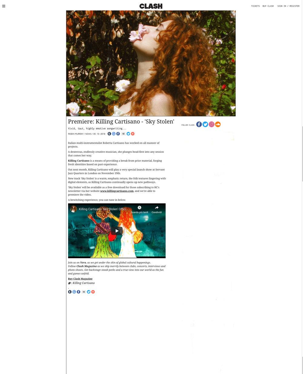 Premiere  Killing Cartisano - 'Sky Stolen'   News   Clash Magazine copy.jpg