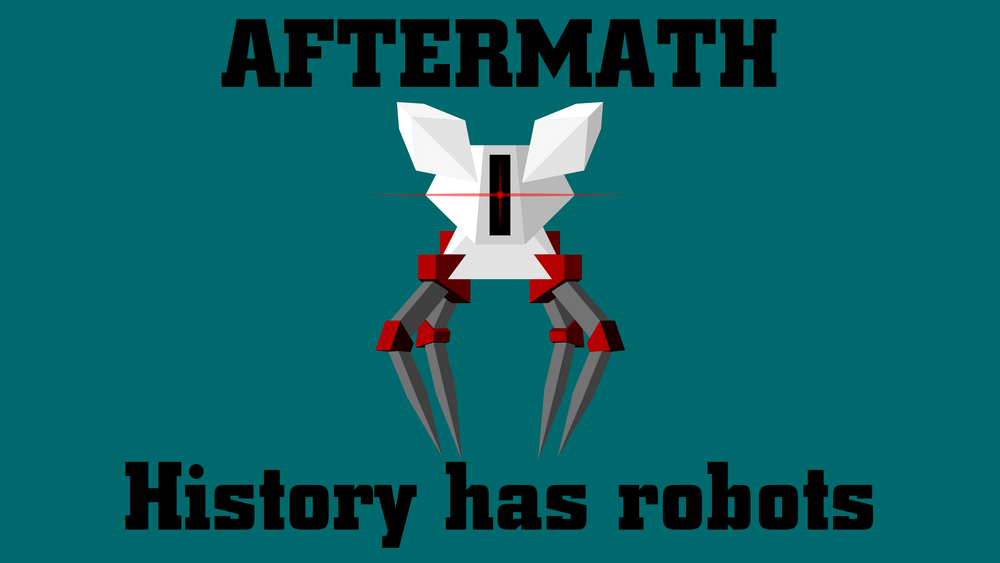 """A piece i put together in Affinity Designer showing one of the enemies from a D&D game I run with the tagline """"History has robots"""""""