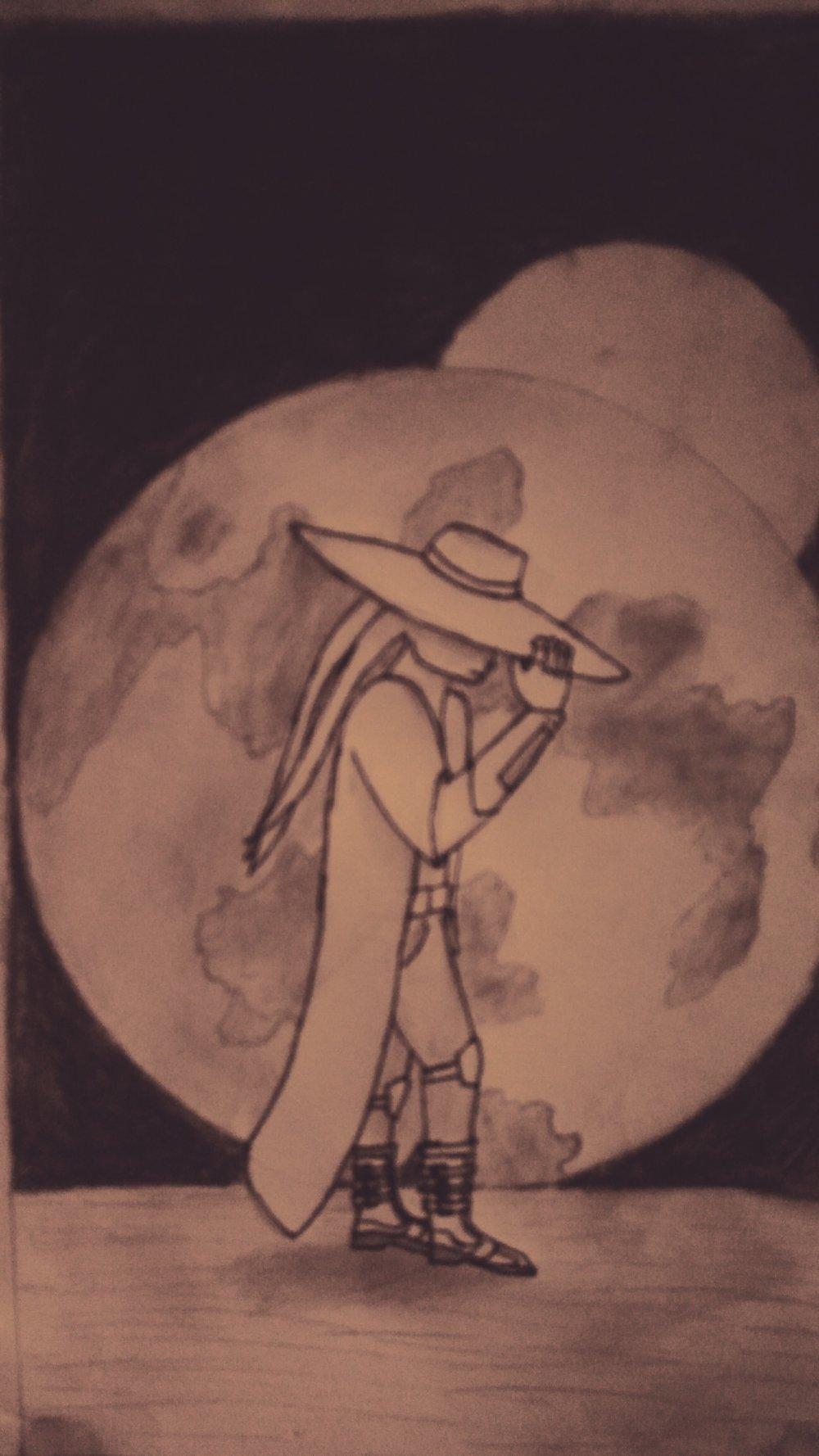 Hand drawn Sketch of a Du'lak Bounty hunter