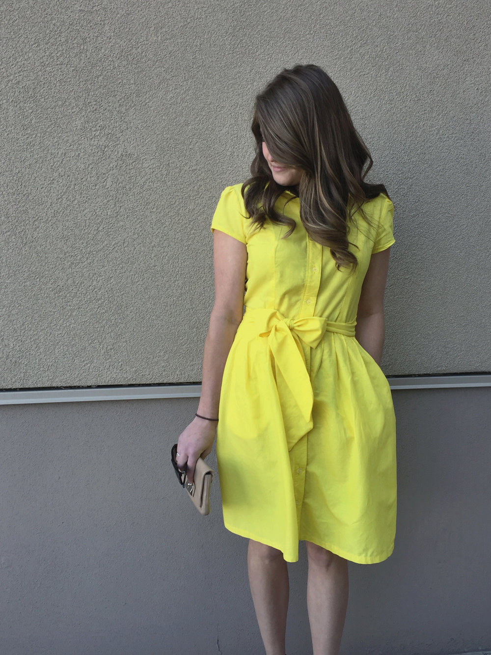 a sunny yellow replicate shirtdress -