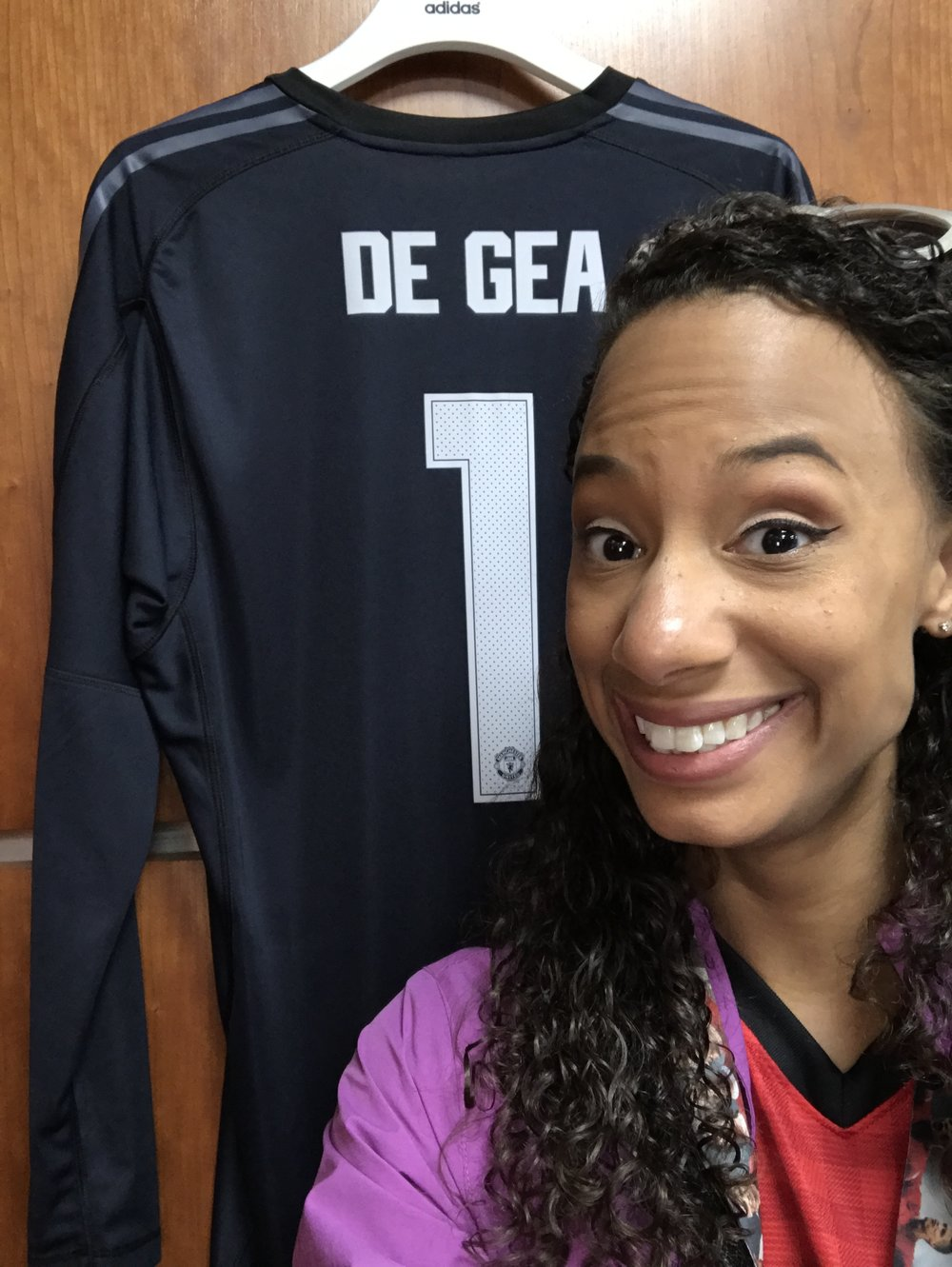 In the players' dressing room with my fave current MU player's jersey