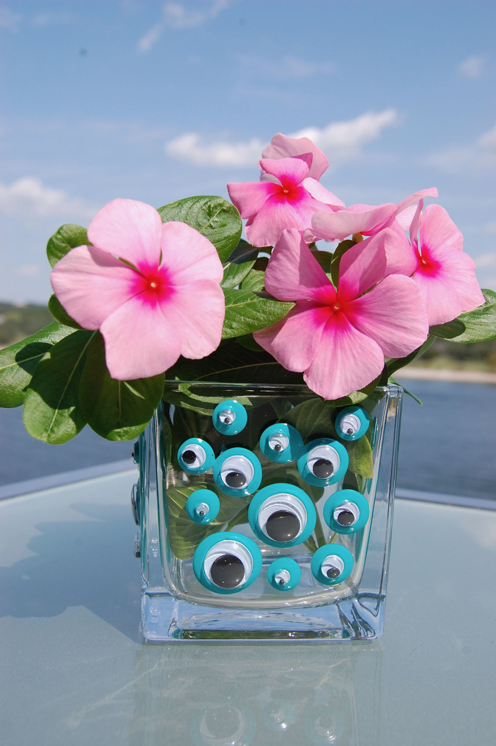 Googly Eye Art Googly Eye Turquoise Multicolor Candle Holder And Vase