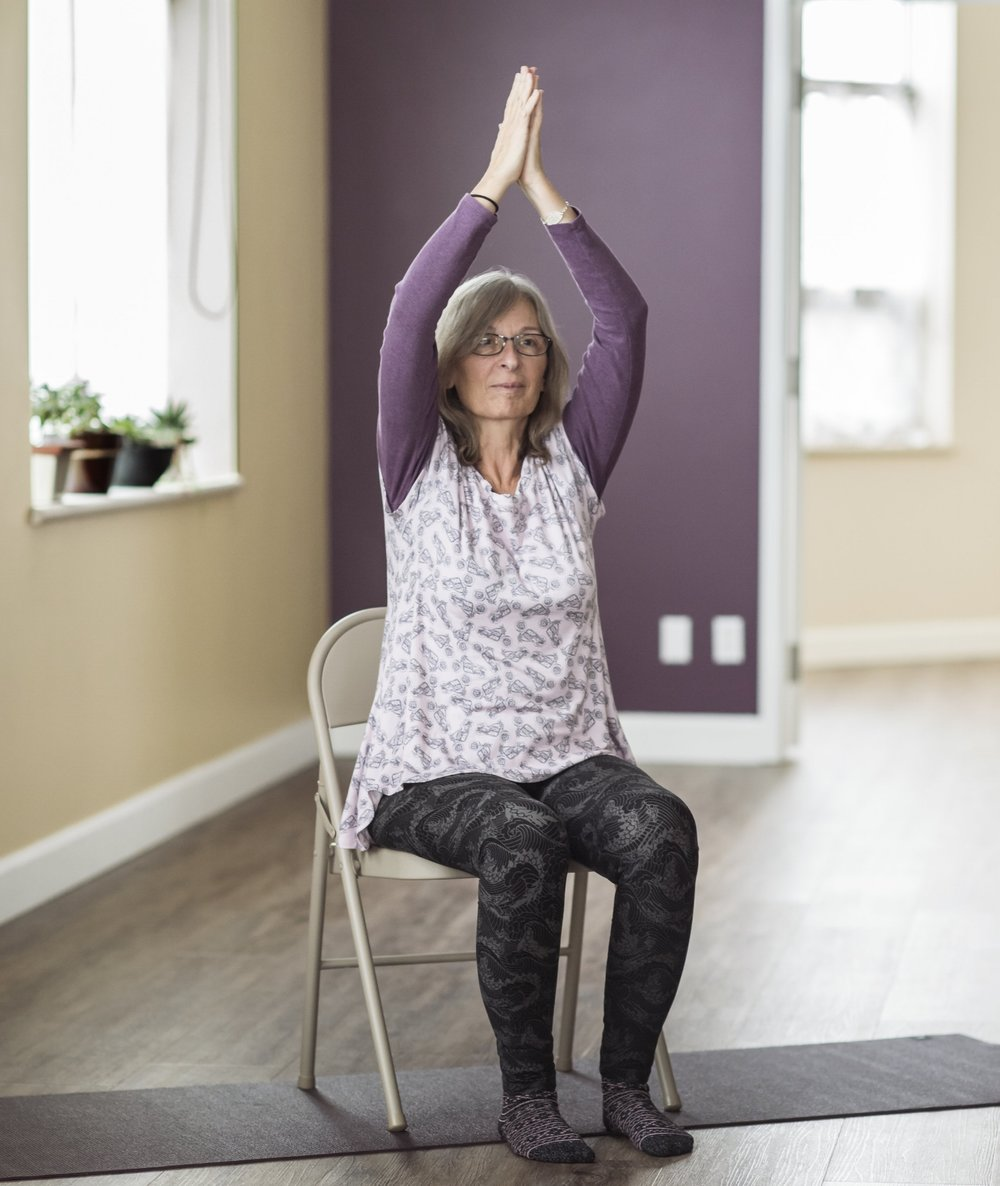 Chair Yoga - Reap all the benefits of a mindful yoga practice without any pressure on your wrists or knees. Learn tools to add gentle movements to your everyday and find out just how much yoga you can do in this low impact format.