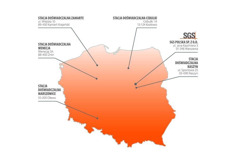Mapa stacji doświadczalnych SGS Polska Sp. z o.o.