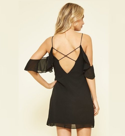 fbc0f97d7b4 Charlotte - Black Open Shoulder Dress