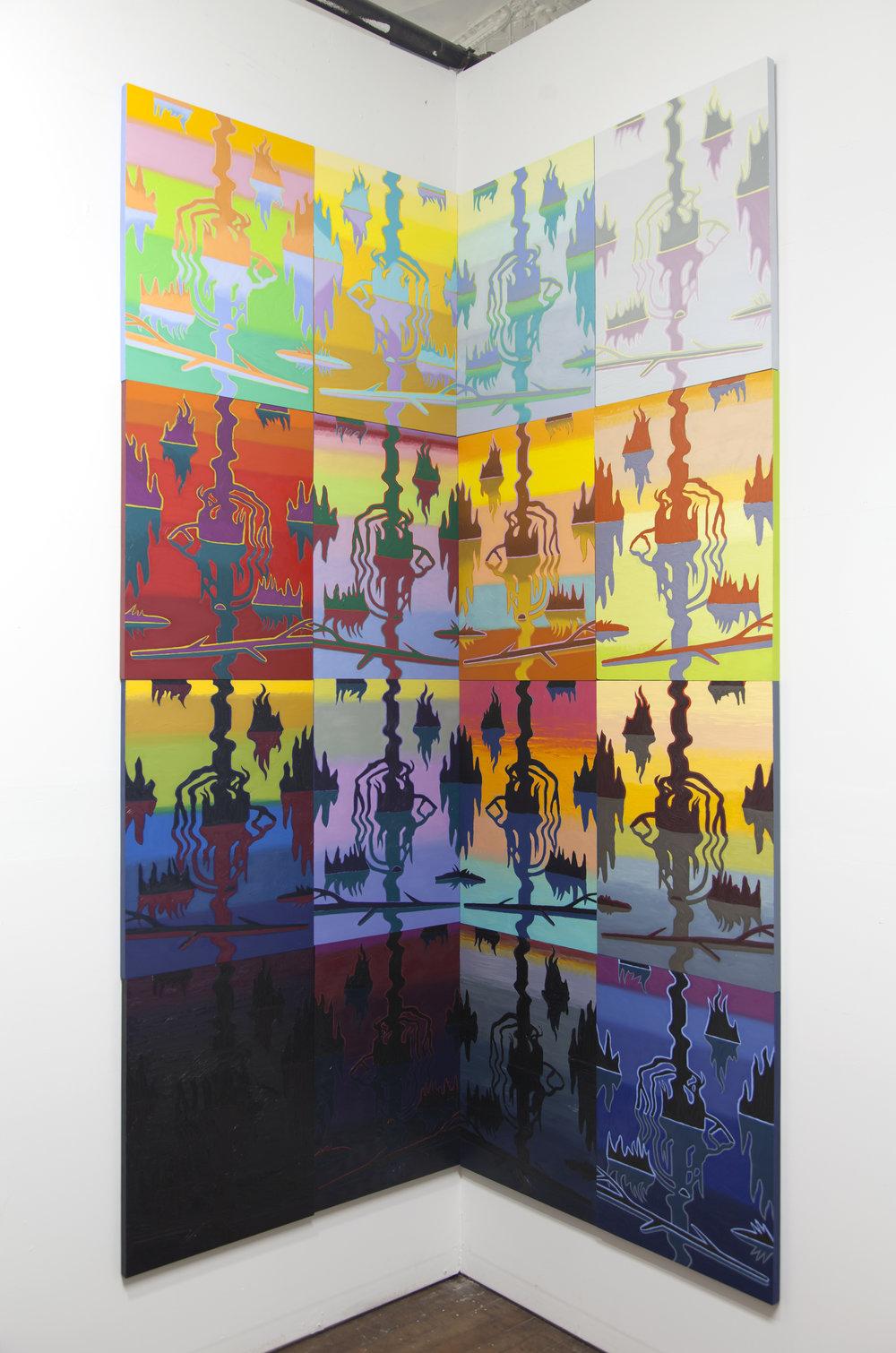 Swamp Shimmer, 16 panel corner arrangement