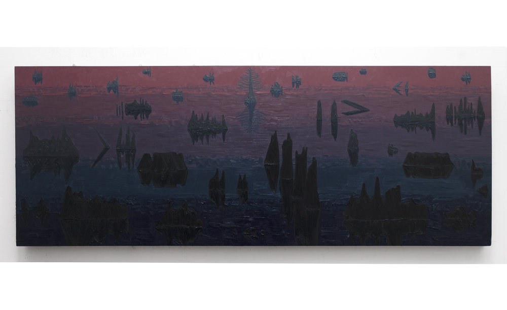 "Early Morning Swampscape, 2015, oil on panel, 48"" x 24"""