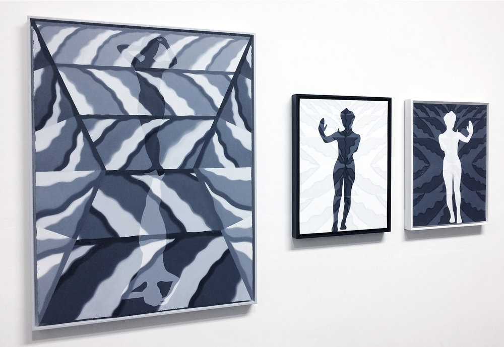 Installation view, from left:   Mirror Cloud, Standing Figure I,  and  Reflection I, Reflection II