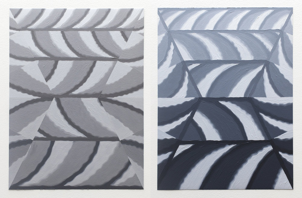 "Cloud Cover Studies VI & IV, 2017, oil on paper, 12"" x 9"" each"