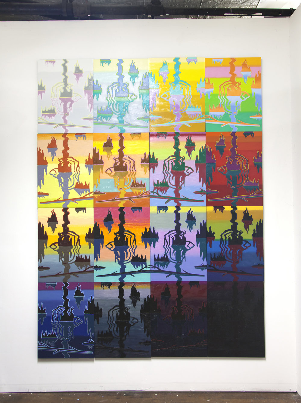Swamp Shimmer, 16 panel arrangement