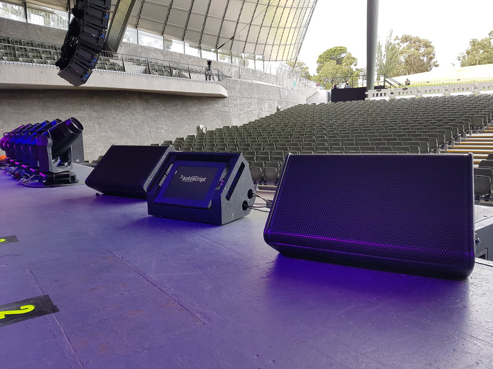 "Wedge Monitoring System - Utilising wedges is ideal when your speaker would like to move around the stage more freely. The setup makes use of 2 x 15"" flatscreen monitors to provide visual cues, words or stage directions to the speaker without obstructing sight-lines.The speaker can then engage with their audience while moving, and still follow the script that is displayed at numerous points around the stage. These wedges are designed to discreetly fit in alongside other audio fold-back monitor wedges. Ideal for presentations, concerts and stage performances."