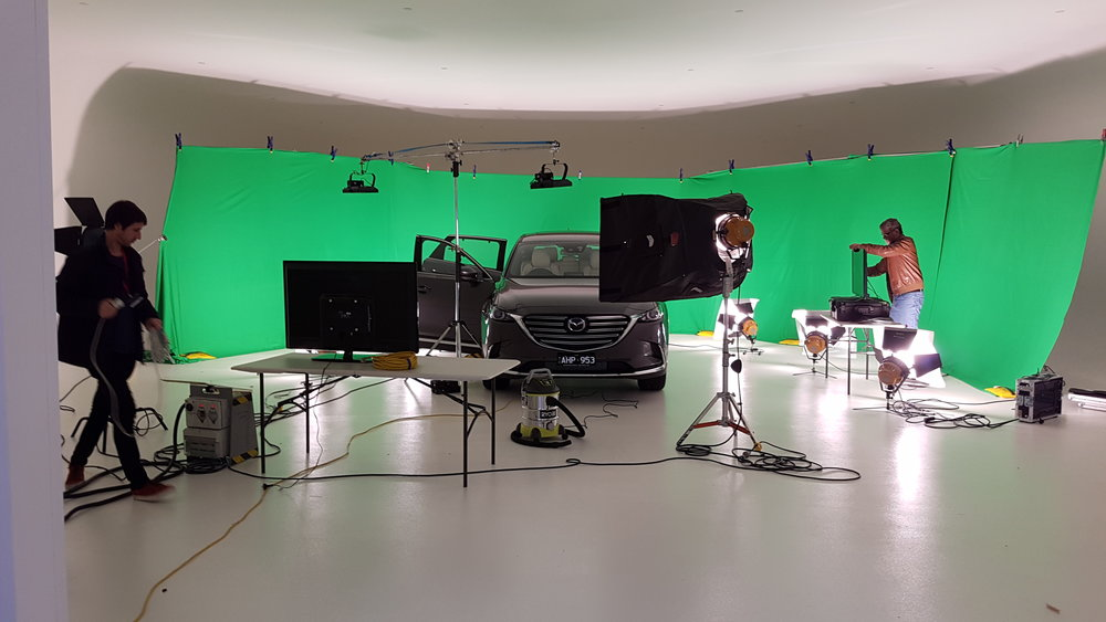 Setting up two LCD Monitors for Mazda Australia, providing the teleprompting for one of their video commercial shoots. 2016. Photo Courtesy of Will Gunn.