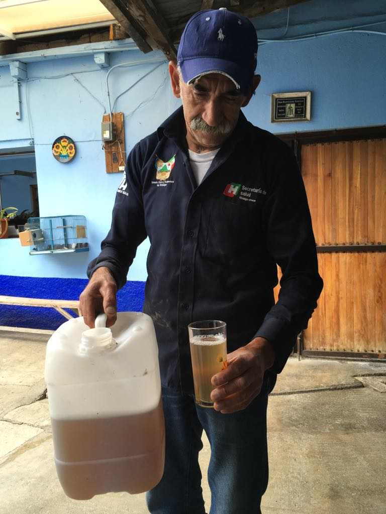 Pancho and his agua miel. He collects about 10 liters, 2 times/day.