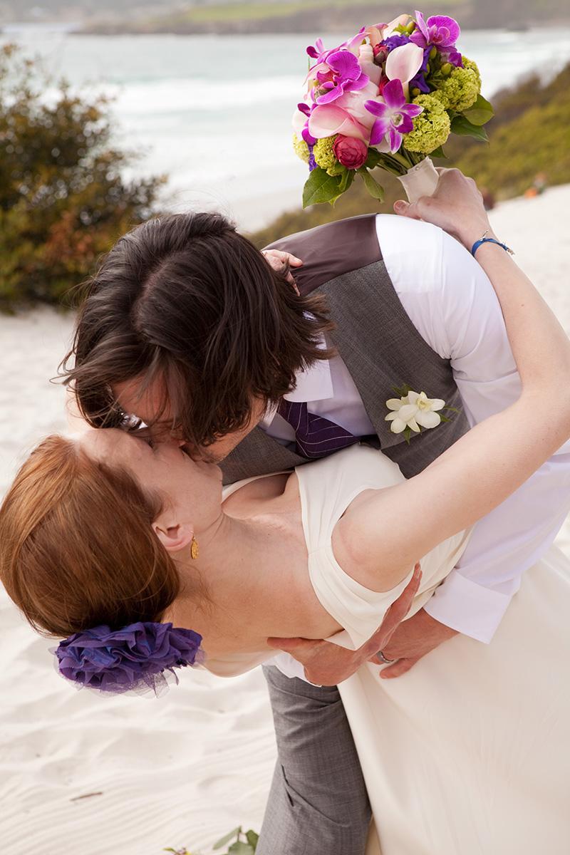 Carmel Beach Wedding, First Kiss
