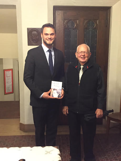 Harrison Hintzsche with William H. Halverson upon receiving the first-ever William H. Halverson Award for his outstanding performance of Grieg's Music.